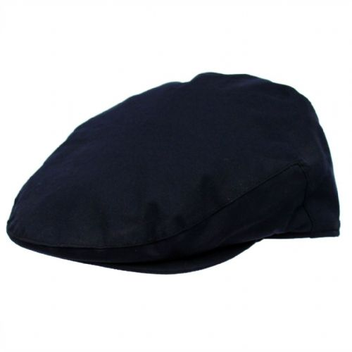 Mens Flat Cap: Waxed Cotton, Waterproof - Navy